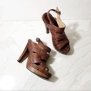 Frye Dara Campus Stitch Sandals Wooden Platform 6